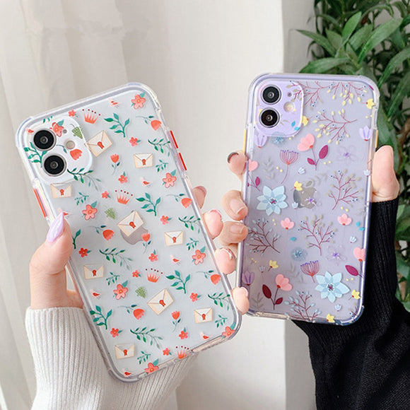 Cute Flower Leaf Clear iPhone Case