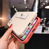 Square Liquid Candy Color Wrist Strap Soft iPhone Case