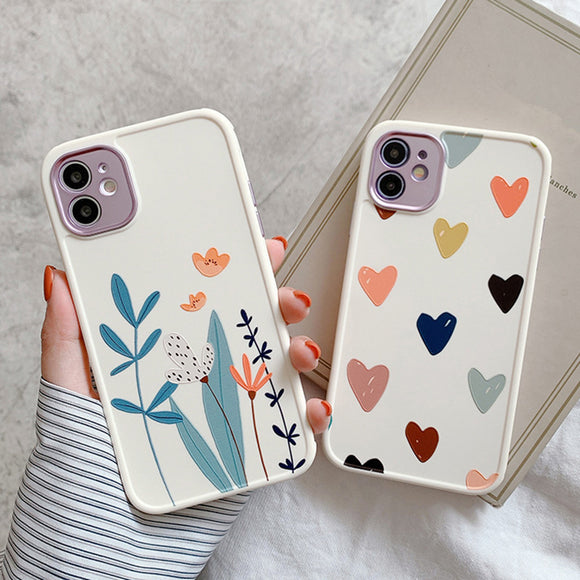 Flower Love Heart Matte Soft iPhone Case