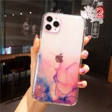 Marble Glitter Transparent Soft iPhone Case