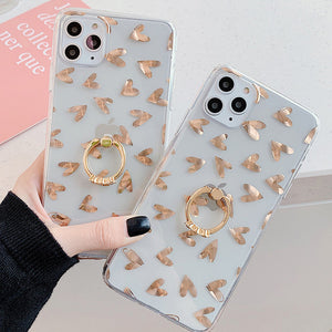 Luxury Plating Gold Love Heart Ring Holder Clear Soft Phone Case Back Cover for iPhone SE/11/11 Pro/11 Pro Max/XS Max/XR/XS/X/8 Plus/8/7 Plus/7 - caseative