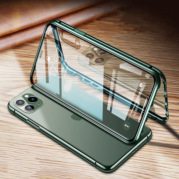 360 Magnetic Metal Double Side Tempered Glass Transparent Phone Case Back Cover for iPhone 11/11 Pro/11 Pro Max/XS Max/XR/XS/X/8 Plus/8/7 Plus/7 - caseative