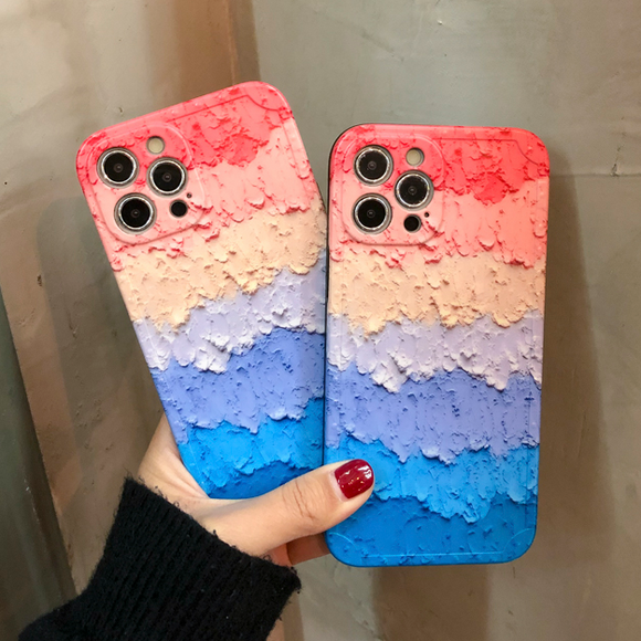 Oil Painting Rainbow Silicone Soft iPhone Case