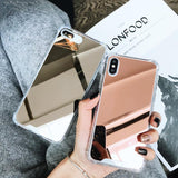 Luxury Plating Bling Soft Mirror Phone Case Back Cover for iPhone SE/11 Pro Max/11 Pro/11/XS Max/XR/XS/X/8 Plus/8/7 Plus/7/6s Plus/6s/6 Plus/6 - caseative