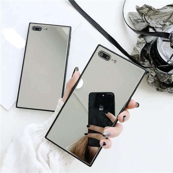 Square Mirror Phone Case Back Cover for iPhone 11 Pro Max/11 Pro/11/XS Max/XR/XS/X/8 Plus/8/7 Plus/7/6s Plus/6s/6 Plus/6 - caseative