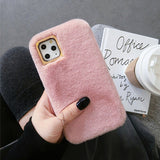 Winter Warm Cute Rabbit Fur Plush Solid Color Phone Case Back Cover for iPhone SE/11 Pro Max/11 Pro/11/XS Max/XR/XS/X/8 Plus/8/7 Plus/7 - caseative
