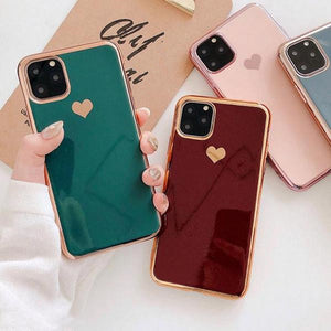 Electroplated Love Heart Phone Case Back Cover for iPhone SE/11/11 Pro/11 Pro Max/XS Max/XR/XS/X/8 Plus/8/7 Plus/7 - caseative