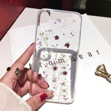 Real Dried Flower Transparent Phone Case Back Cover for iPhone SE/11 Pro Max/11 Pro/11/XS Max/XR/XS/X/8 Plus/8/7 Plus/7/6s Plus/6s/6 Plus/6 - caseative