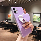 Glitter Love Heart Candy Color Stand Holder Soft Silicone iPhone Case