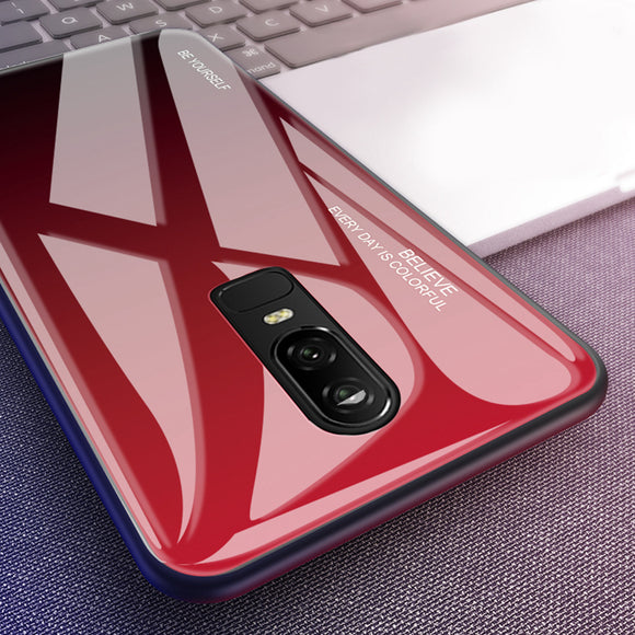 Gradient Tempered Glass Phone Case Back Cover for OnePlus 7 Pro/7/6T/6