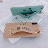 Cute Cactus Letters Bracket Wrist Strap Soft iPhone Case