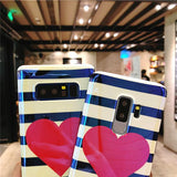 Blu-ray Love Heart Stripe Phone Case Back Cover for Samsung Galaxy S10E/S10 Plus/S10/S9 Plus/S9/S8 Plus/S8/Note 10 Pro/Note 10/Note 9/Note 8 - caseative