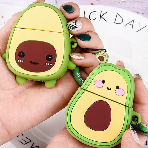 Cartoon Avocado with Ring Lanyard Wireless Bluetooth Earphone Cases for Airpods - caseative