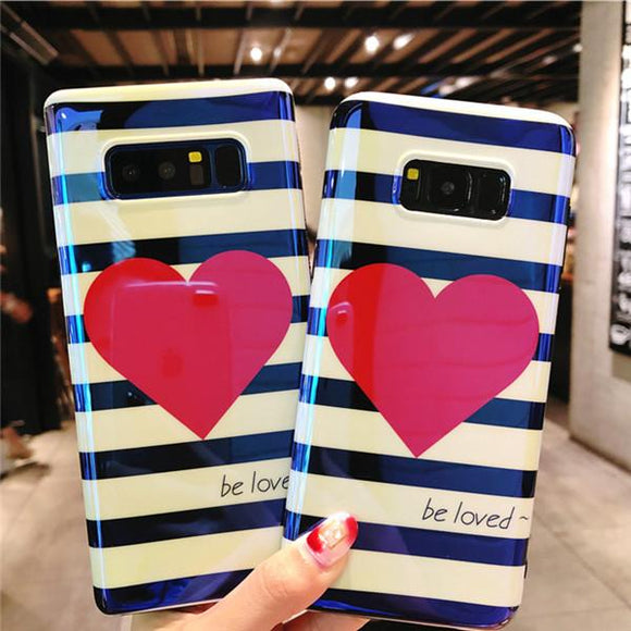 Blu-ray Love Heart Stripe Phone Case Back Cover for Samsung Galaxy S9 Plus/S9/S8 Plus/S8/Note 8/Note 9 - caseative
