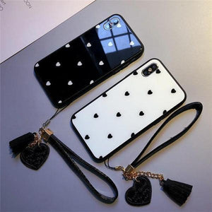 Polka Dot Love Heart Tempered Glass with Pendant  iPhone Case