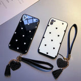 Polka Dot Love Heart Tempered Glass with Pendant  Phone Case Back Cover for iPhone 11 Pro Max/11 Pro/11/XS Max/XR/XS/X/8 Plus/8/7 Plus/7/6s Plus/6s/6 Plus/6 - caseative