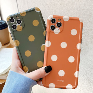 Retro Polka Dots Matte Soft Phone Case Back Cover for iPhone SE/11 Pro Max/11 Pro/11/XS Max/XR/XS/X/8 Plus/8/7 Plus/7 - caseative