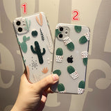 Cute Cactus Transparent Soft iPhone Case