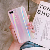 Laser Milk White Phone Case Back Cover for iPhone SE/11 Pro Max/11 Pro/11/XS Max/XR/XS/X/8 Plus/8/7 Plus/7/6s Plus/6s/6 Plus/6 - caseative