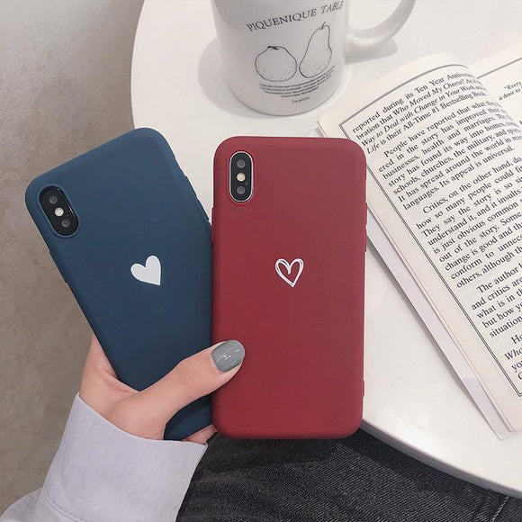 Simple Love Heart Phone Case Back Cover for iPhone 11 Pro Max/11 Pro/11/XS Max/XR/XS/X/8 Plus/8/7 Plus/7/6s Plus/6s/6 Plus/6 - caseative