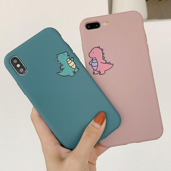 Cartoon Cute Dinosaur Matte Couple Phone Case Back Cover for iPhone SE/11 Pro Max/11 Pro/11/XS Max/XR/XS/X/8 Plus/8/7 Plus/7/6s Plus/6s/6 Plus/6 - caseative