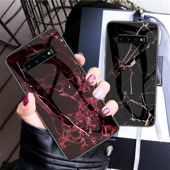 Luxury Marble Tempered Glass Phone Case Back Cover for Samsung Galaxy S20 Ultra/S20 Plus/S20/S10E/S10 Plus/S10/S9 Plus/S9/S8 Plus/S8/Note 10 Pro/Note 10/Note 9/Note 8 - caseative