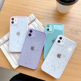 Glitter Star Candy Color Clear Camera Protector Soft iPhone Case