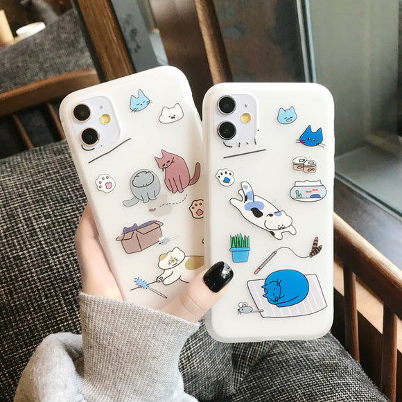 Cartoon Cute Cats Soft Matte Phone Case Back Cover for iPhone 11/11 Pro/11 Pro Max/XS Max/XR/XS/X/8 Plus/8/7 Plus/7 - caseative