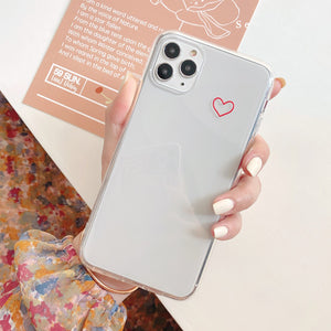 Simple Hollow Love Heart Transparent Soft iPhone Case