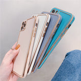 Luxury Solid Color Electroplating Soft iPhone Case