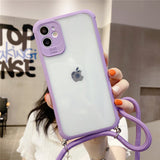 Candy Color Frame Transparent Cross Shoulder Strap Soft iPhone Case