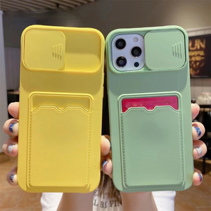 Candy Color Slide Lens Camera Protection Card Holder Soft iPhone Case