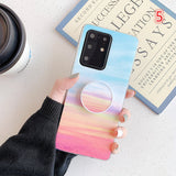 Simple Gradient Rainbow Marble Fissure Stand Holder Soft Samsung Case