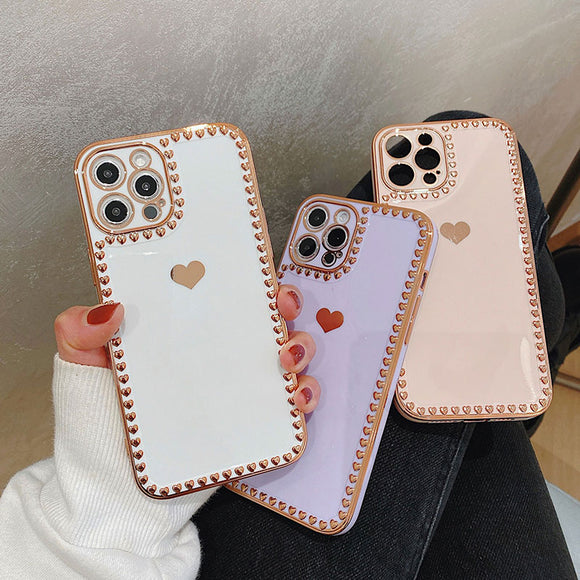 Electroplating Love Silicone Soft iPhone Case