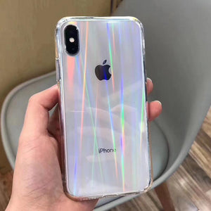 Gradient Rainbow Laser Transparent iPhone Case