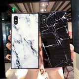 Fashion Square Glossy Marble Texture Phone Case Back Cover for iPhone SE/11 Pro Max/11 Pro/11/XS Max/XR/XS/X/8 Plus/8/7 Plus/7/6s Plus/6s/6 Plus/6lus/6s/6 Plus/6 - caseative