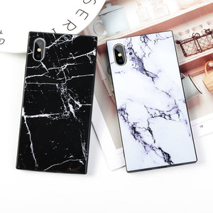 Fashion Square Glossy Marble Texture Phone Case Back Cover for iPhone 11 Pro Max/11 Pro/11/XS Max/XR/XS/X/8 Plus/8/7 Plus/7/6s Plus/6s/6 Plus/6lus/6s/6 Plus/6 - caseative