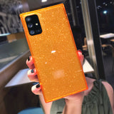 Square Glitter Powder Solid Color Transparent Soft Samsung Case