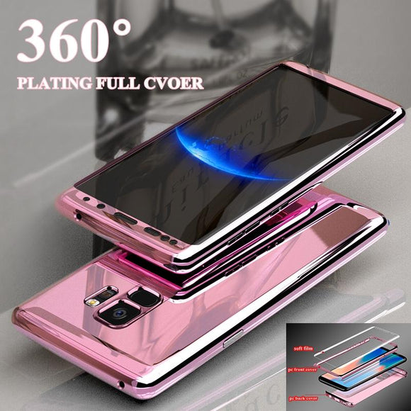 360 Degree Full Body Protective with Tempered Glass Plating Mirror Phone Case Back Cover for Samsung Galaxy S10/S10 Plus/S10E/S9 Plus/S9/S8 Plus/S8/Note8/Note9 - caseative