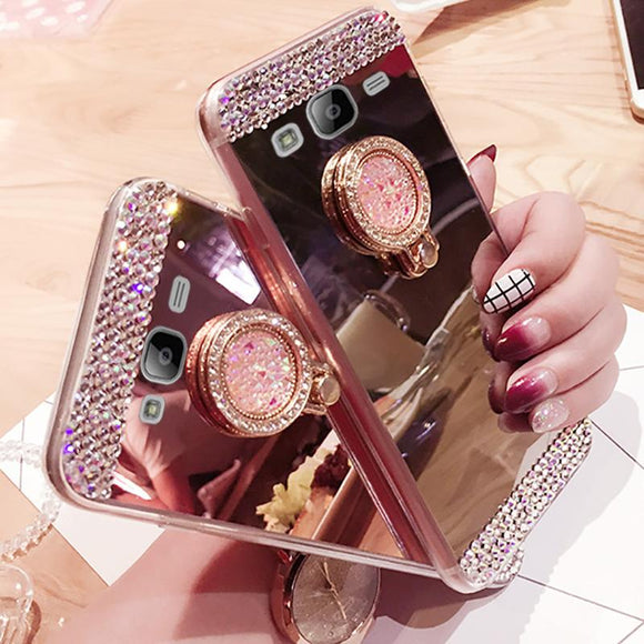 Cute Glitter Mirror Rhinestone Ring Holder Phone Case Back Cover for Samsung Galaxy S10E/S10 Plus/S10/S9 Plus/S9/S8 Plus/S8/S7 Edge/S7/Note9/Note8 - caseative