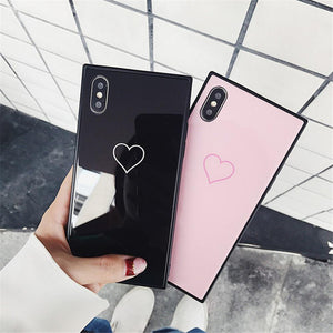 Square Frame Love Heart Tempered Glass Phone Case Back Cover for iPhone 11 Pro Max/11 Pro/11/XS Max/XR/XS/X/8 Plus/8/7 Plus/7/6s Plus/6s/6 Plus/6 - caseative