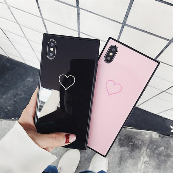 Square Frame Love Heart Tempered Glass Phone Case Back Cover for iPhone SE/11 Pro Max/11 Pro/11/XS Max/XR/XS/X/8 Plus/8/7 Plus/7/6s Plus/6s/6 Plus/6 - caseative