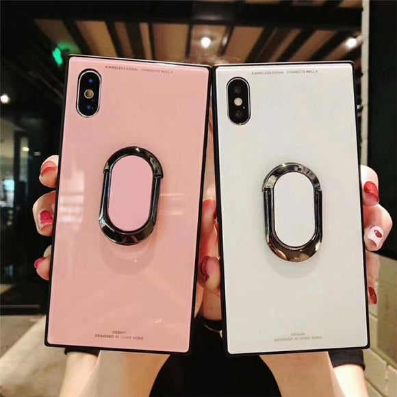 Square Fashion Classic Tempered Glass with Ring Stand Holder Phone Case Back Cover for iPhone 11 Pro Max/11 Pro/11/XS Max/XR/XS/X/8 Plus/8/7 Plus/7/6s Plus/6s/6 Plus/6 - caseative
