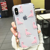 Transparent Lovely Cartoon Dinosaur Phone Case Back Cover for iPhone SE/11 Pro Max/11 Pro/11/XS Max/XR/XS/X/8 Plus/8/7 Plus/7/6s Plus/6s/6 Plus/6 - caseative