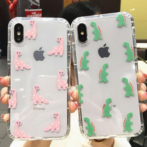 Transparent Lovely Cartoon Dinosaur Phone Case Back Cover for iPhone 11 Pro Max/11 Pro/11/XS Max/XR/XS/X/8 Plus/8/7 Plus/7/6s Plus/6s/6 Plus/6 - caseative