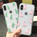 Transparent Lovely Cartoon Dinosaur iPhone Case