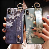 Relief Flower Wrist Strap Hand Band Soft TPU Phone Case Back Cover for iPhone SE/11 Pro Max/11 Pro/11/XS Max/XR/XS/X/8 Plus/8/7 Plus/7/6s Plus/6s/6 Plus/6 - caseative