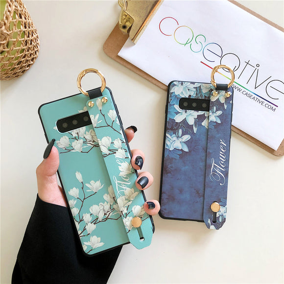 3D Relief Retro Flower Wrist Strap Holder Samsung Case