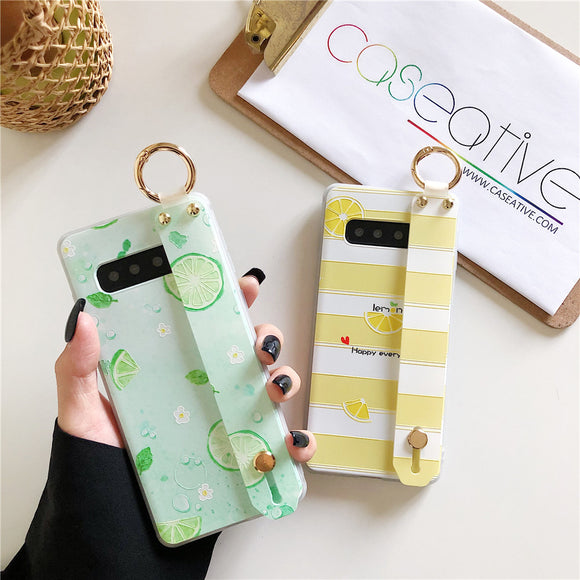 Summer Fruit Lemon Soft TPU Wrist Strap Samsung Case