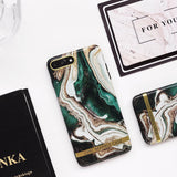 Ink Green Luxury Marble Phone Case Back Cover for iPhone SE/11 Pro Max/11 Pro/11/XS Max/XR/XS/X/8 Plus/8/7 Plus/7/6s Plus/6s/6 Plus/6 - caseative
